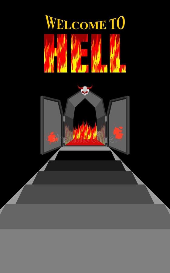 Benvenuto all'inferno Scala all'inferno Portoni neri del ferro dell'unità di elaborazione ardente illustrazione vettoriale