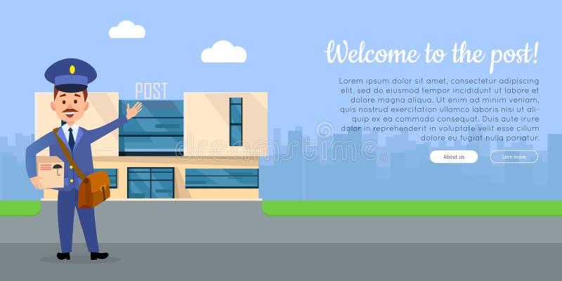 Benvenuto all'insegna di web di vettore della posta con il postino illustrazione di stock