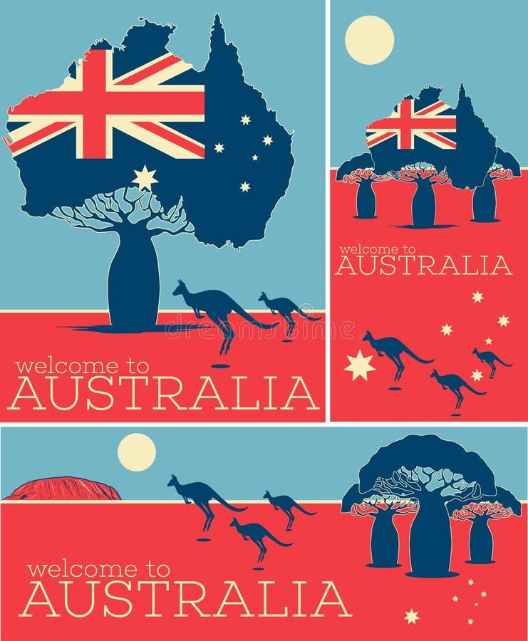Benvenuto all'insieme d'annata del manifesto dell'Australia illustrazione di stock