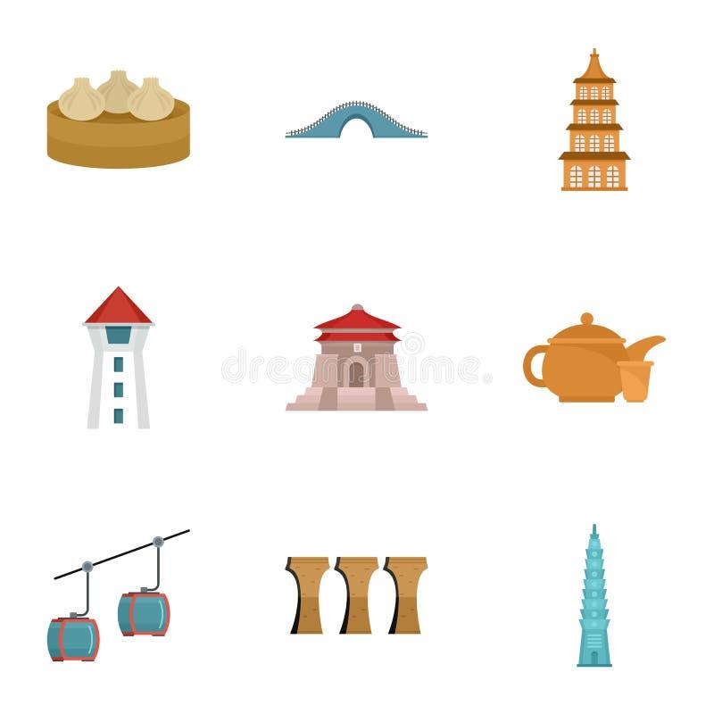 Benvenuto all'insieme dell'icona di Taiwan, stile piano illustrazione vettoriale