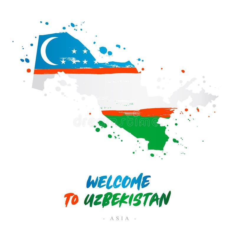 Benvenuto all'Uzbekistan Bandiera e mappa del paese royalty illustrazione gratis