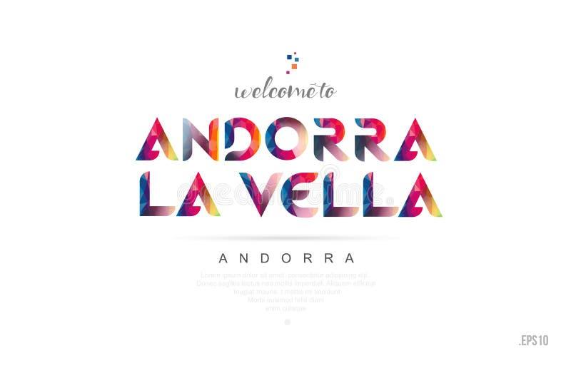Benvenuto alla carta dell'Andorra di vella della La dell'Andorra e al typog di progettazione di lettera illustrazione vettoriale