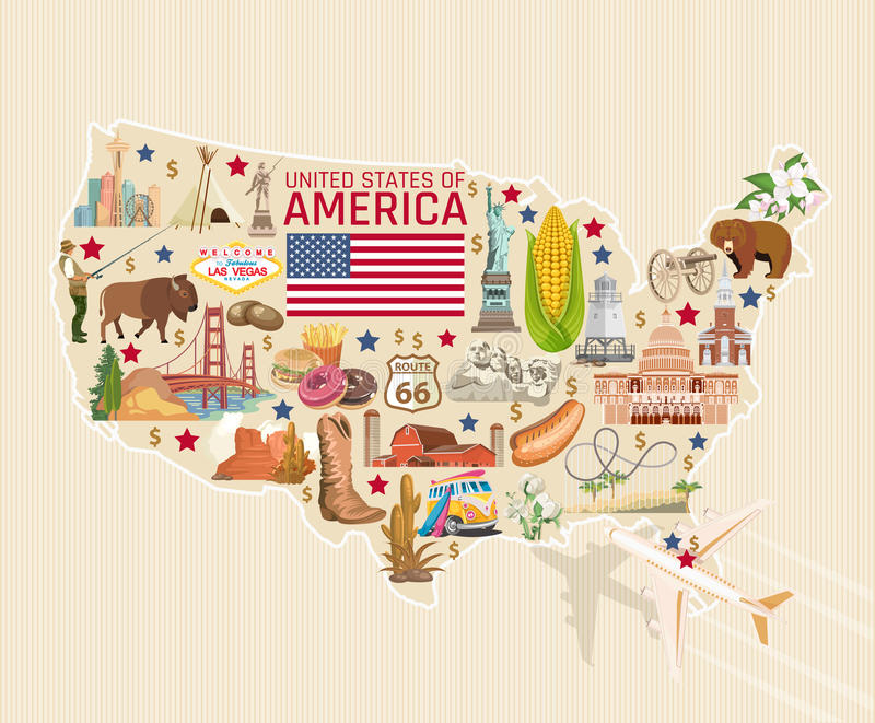 Benvenuto alla carta dettagliata di U.S.A. Manifesto degli Stati Uniti d'America con la statua della libertà illustrazione vettoriale