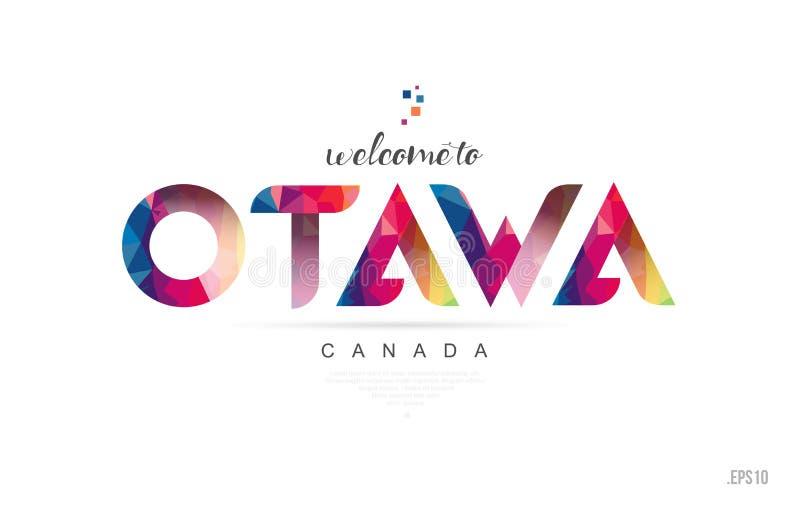 Benvenuto alla carta di ottawa Canada ed all'icona di tipografia di progettazione di lettera illustrazione di stock