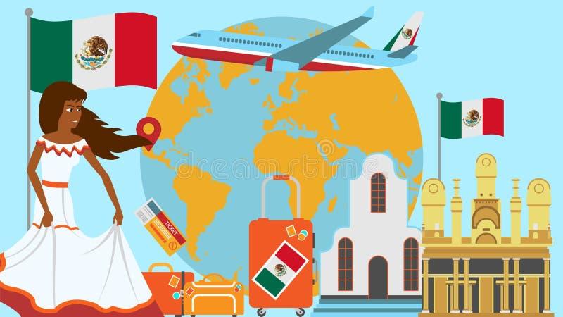 Benvenuto alla cartolina del Messico Concetto di viaggio e di viaggio dell'illustrazione di vettore del paese dei latini con la b royalty illustrazione gratis