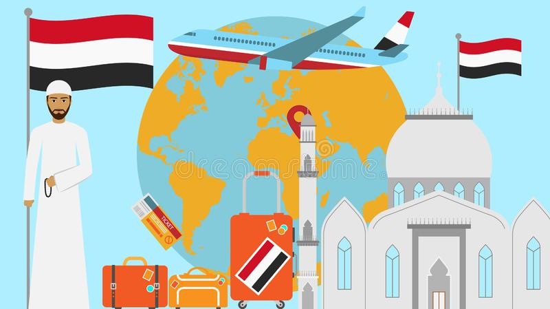 Benvenuto alla cartolina dell'Egitto Concetto di viaggio e di viaggio dell'illustrazione islamica di vettore del paese con la ban royalty illustrazione gratis