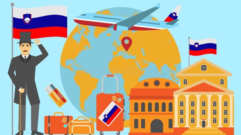 Benvenuto alla cartolina della Slovenia Concetto di safari e di viaggio dell'illustrazione di vettore della mappa di mondo di Eur illustrazione vettoriale
