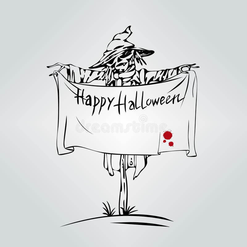 Benvenuto alla festa Spaventapasseri di Halloween illustrazione vettoriale
