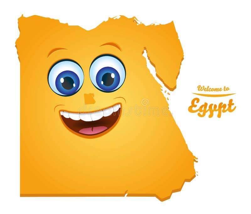 Benvenuto alla mappa sorridente dell'Egitto illustrazione vettoriale
