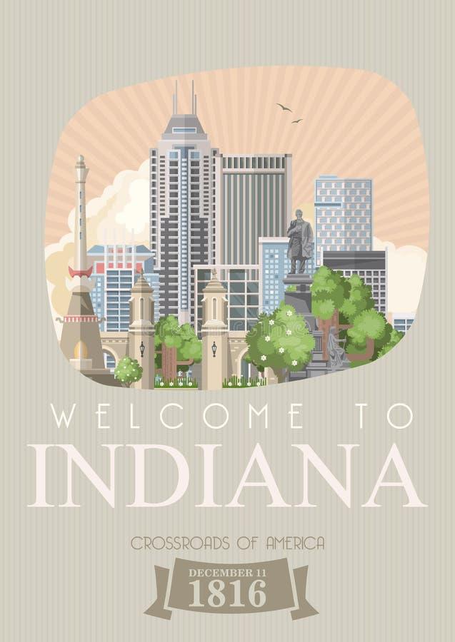 Benvenuto allo stato dell'Indiana Gli Stati Uniti d'America Strade trasversali dell'America Cartolina da Indianapolis Vettore di  illustrazione di stock