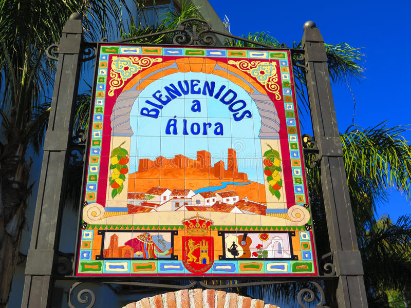 Benvenuto a Alora immagini stock