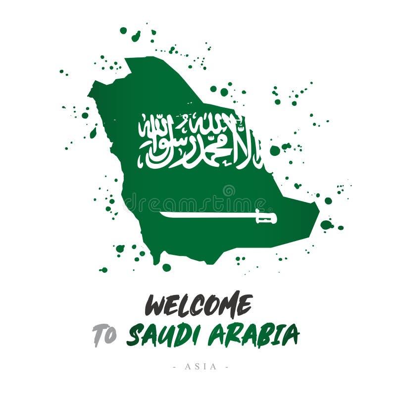 Benvenuto in Arabia Saudita Bandiera e mappa del paese illustrazione vettoriale