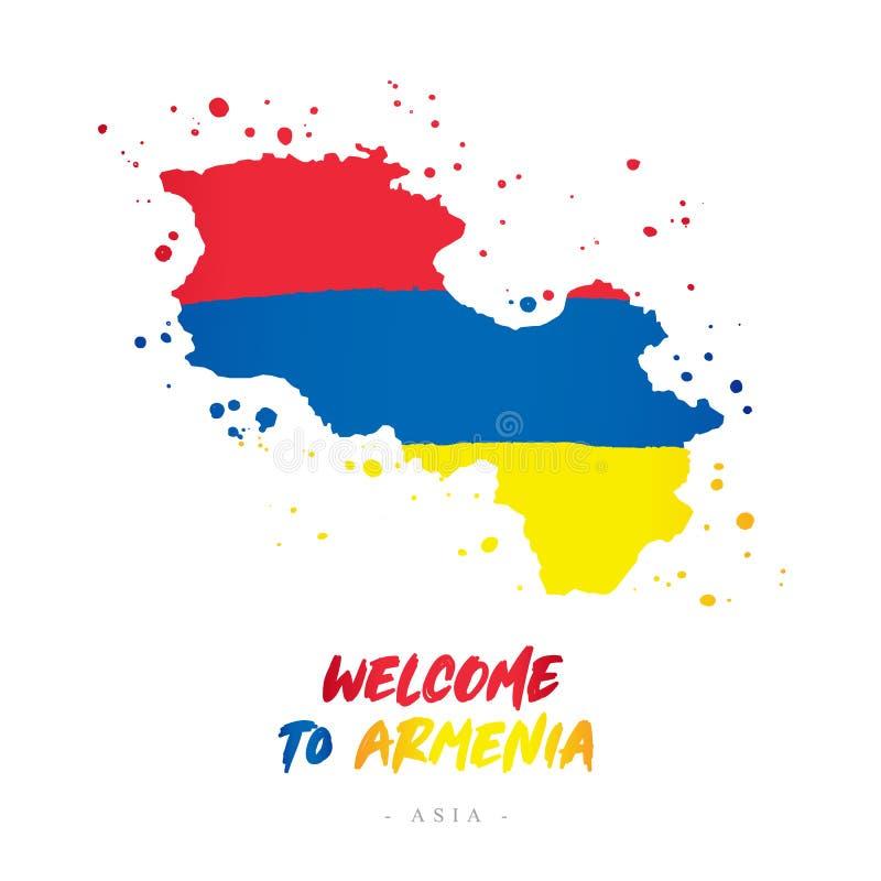 Benvenuto in Armenia Bandiera e mappa del paese illustrazione di stock