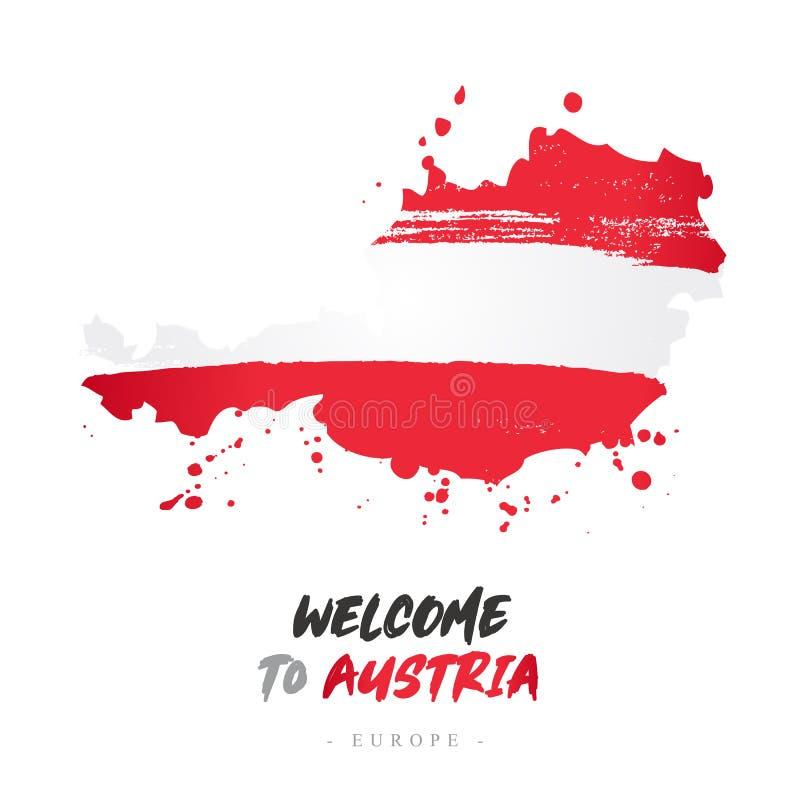 Benvenuto in Austria Bandiera e mappa del paese illustrazione vettoriale