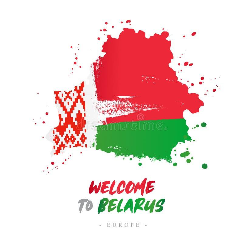 Benvenuto in Bielorussia Bandiera e mappa del paese illustrazione di stock