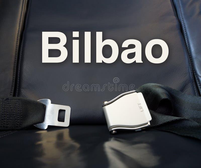 Benvenuto a Bilbao! Lascici la mosca, il viaggio, il viaggio, il giro, il viaggio, v immagine stock