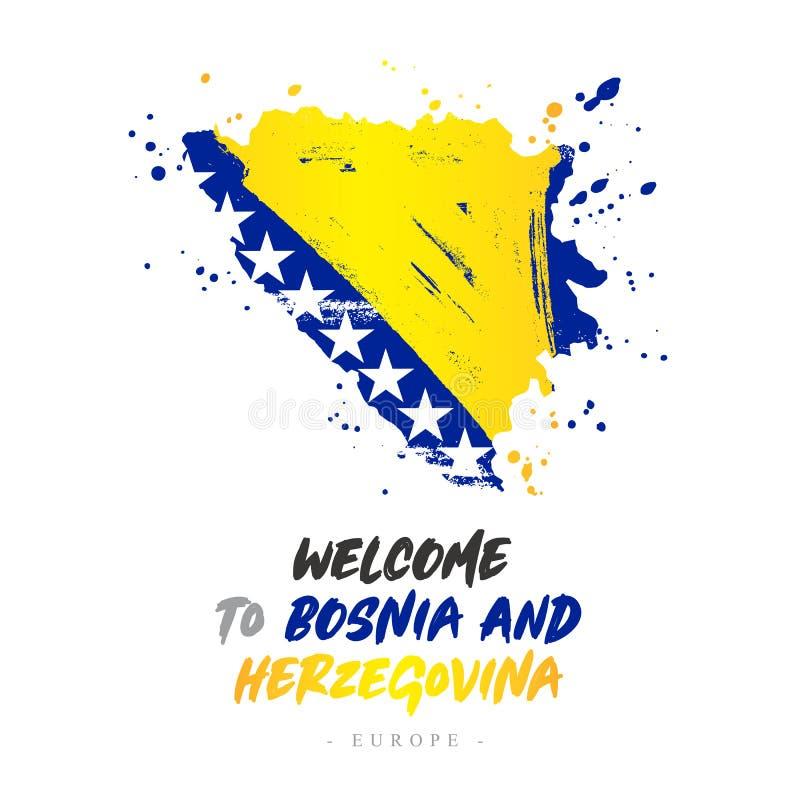 Benvenuto in Bosnia-Erzegovina Bandiera e mappa illustrazione vettoriale