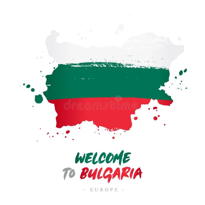 Benvenuto in Bulgaria Bandiera e mappa del paese illustrazione vettoriale