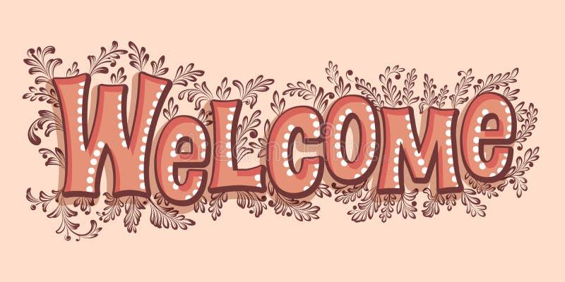Benvenuto d'iscrizione disegnato a mano con ombra e punti culminanti ed elementi floreali Calligrafia scritta a mano moderna eleg illustrazione di stock