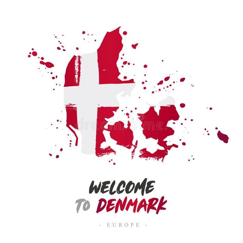 Benvenuto in Danimarca Bandiera e mappa del paese illustrazione di stock