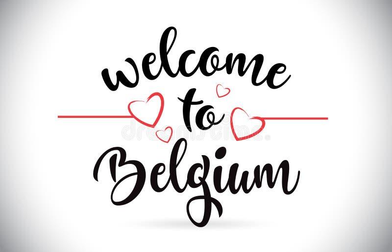 Benvenuto del Belgio al testo di vettore del messaggio con i cuori rossi Illu di amore illustrazione di stock