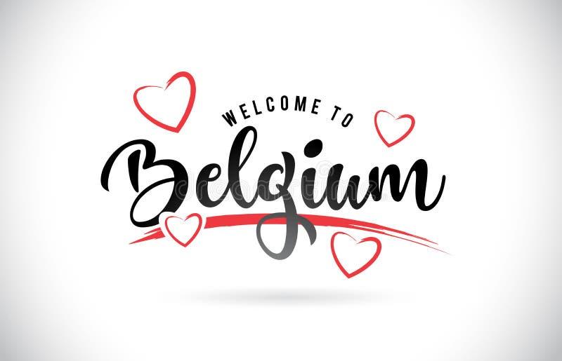 Benvenuto del Belgio per esprimere testo con la fonte scritta a mano e l'amore rosso illustrazione di stock