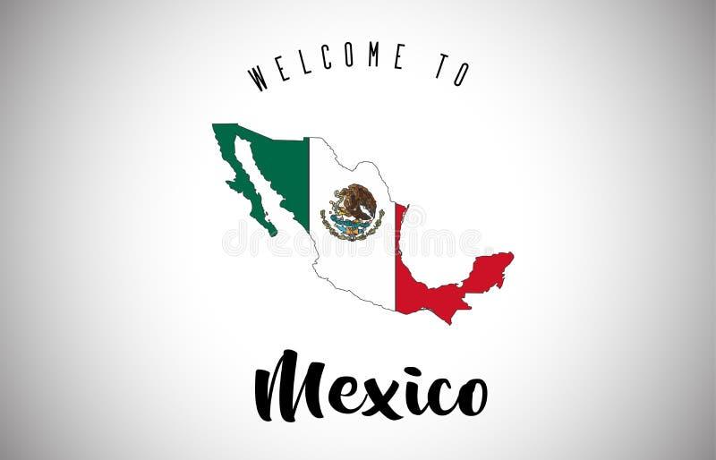 Benvenuto del Messico bandiera di paese e da mandare un sms a dentro progettazione di vettore della mappa del confine del paese royalty illustrazione gratis