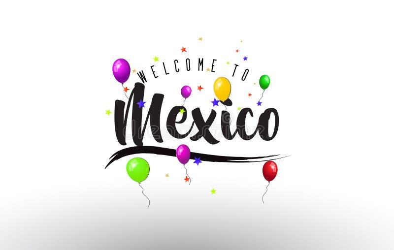 Benvenuto del Messico da mandare un sms a con i palloni variopinti e la progettazione delle stelle illustrazione vettoriale