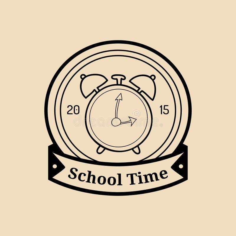Benvenuto dell'annata di vettore di nuovo al logo o al distintivo della scuola Retro segno con la sveglia Icona di istruzione dei illustrazione vettoriale