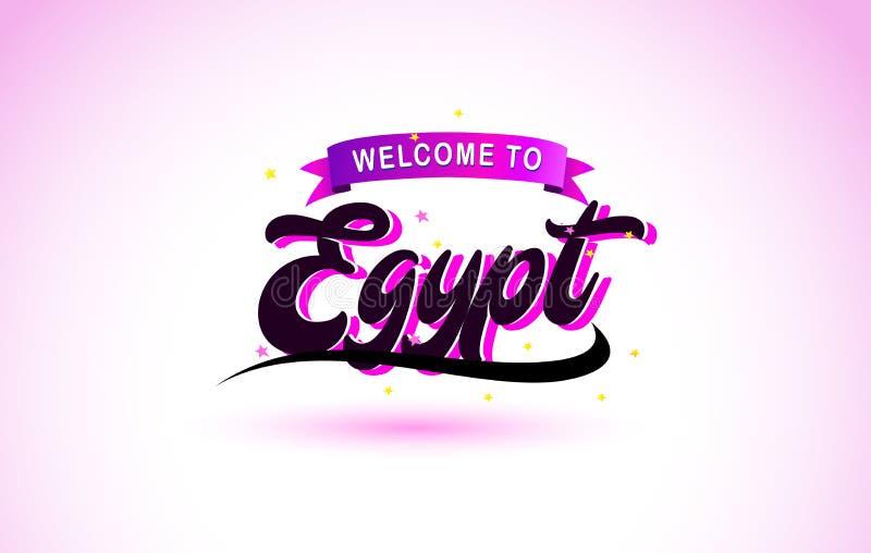 Benvenuto dell'Egitto alla fonte scritta a mano del testo creativo con progettazione rosa porpora di colori illustrazione di stock
