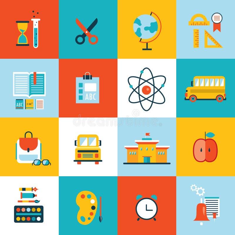 Benvenuto dell'insieme dell'icona di istruzione di nuovo a progettazione piana della scuola illustrazione vettoriale