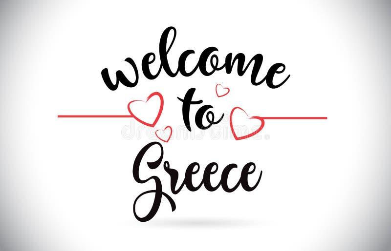 Benvenuto della Grecia al testo di vettore del messaggio con i cuori rossi Illus di amore illustrazione vettoriale