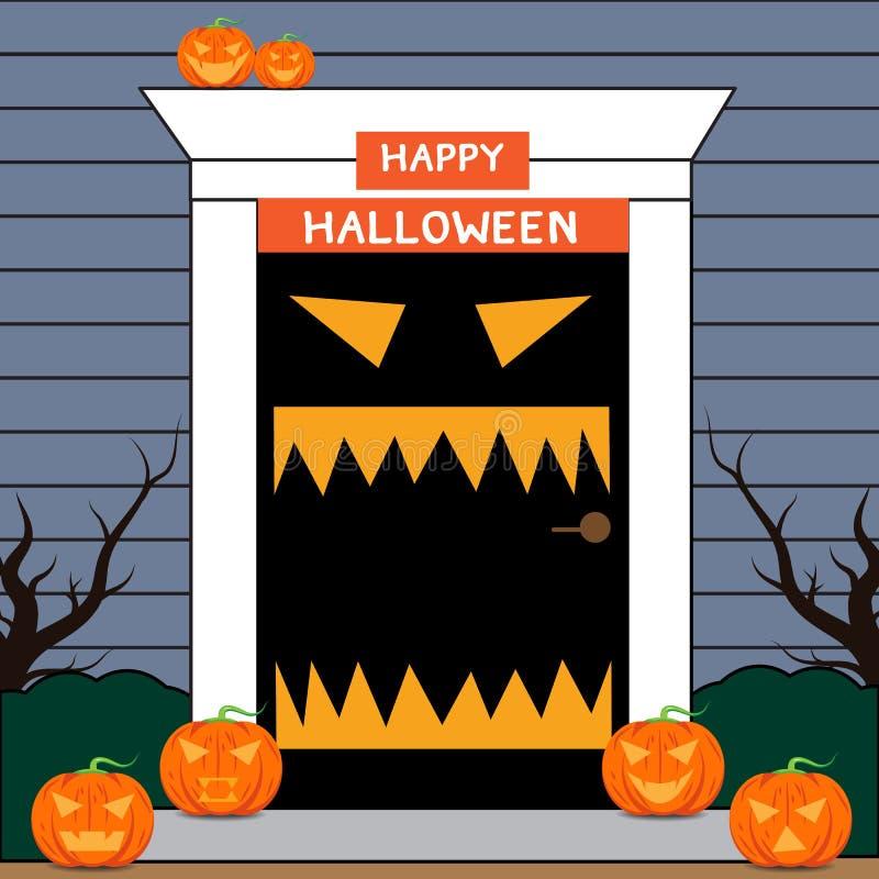 Benvenuto della porta di Halloween a Halloween royalty illustrazione gratis
