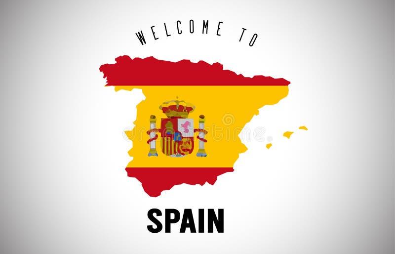 Benvenuto della Spagna bandiera di paese e da mandare un sms a dentro progettazione di vettore della mappa del confine del paese illustrazione di stock