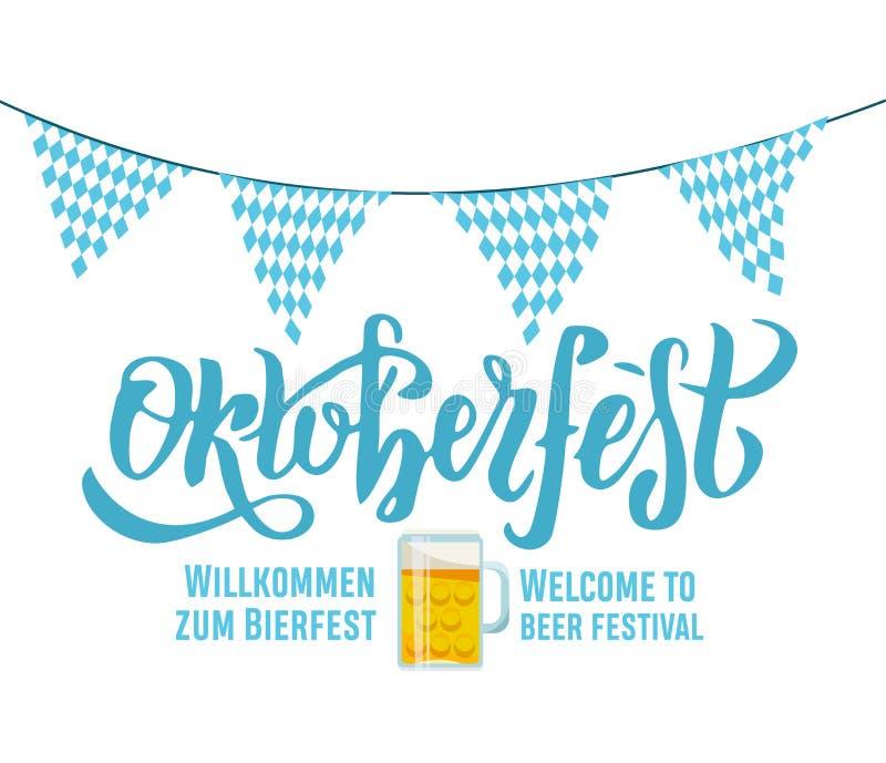Benvenuto di Bierfest di zum di Willcommen all'iscrizione scritta a mano di Oktoberfest di festival della birra sul fondo bianco  royalty illustrazione gratis
