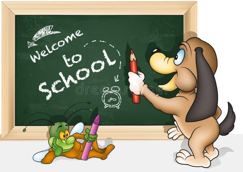 Benvenuto di concetto alla scuola con un cane illustrazione di stock
