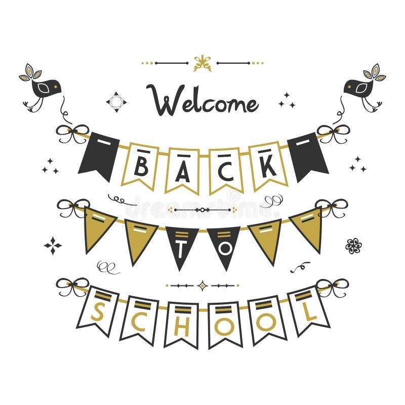 Benvenuto di nuovo agli uccelli della scuola ed all'insegna della stamina su fondo bianco royalty illustrazione gratis