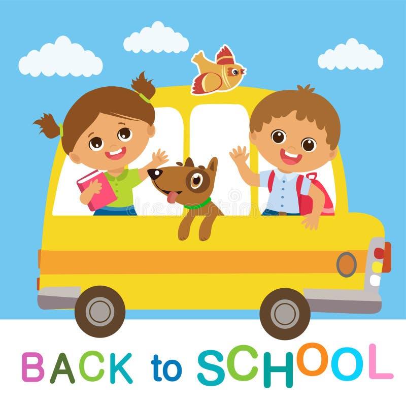 Benvenuto di nuovo al banco Guida sveglia del ragazzo e della ragazza di scuola sullo scuolabus illustrazione di stock