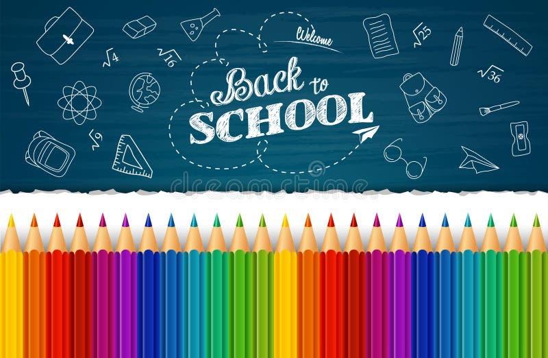 Benvenuto di nuovo al fondo della scuola con gli elementi disegnati a mano di scarabocchio e le matite variopinte royalty illustrazione gratis