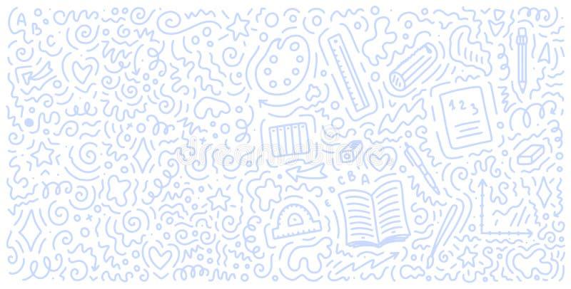 Benvenuto di nuovo al fondo di scarabocchio della scuola Modello da vendere l'insegna Elementi disegnati a mano Concetto di forma royalty illustrazione gratis