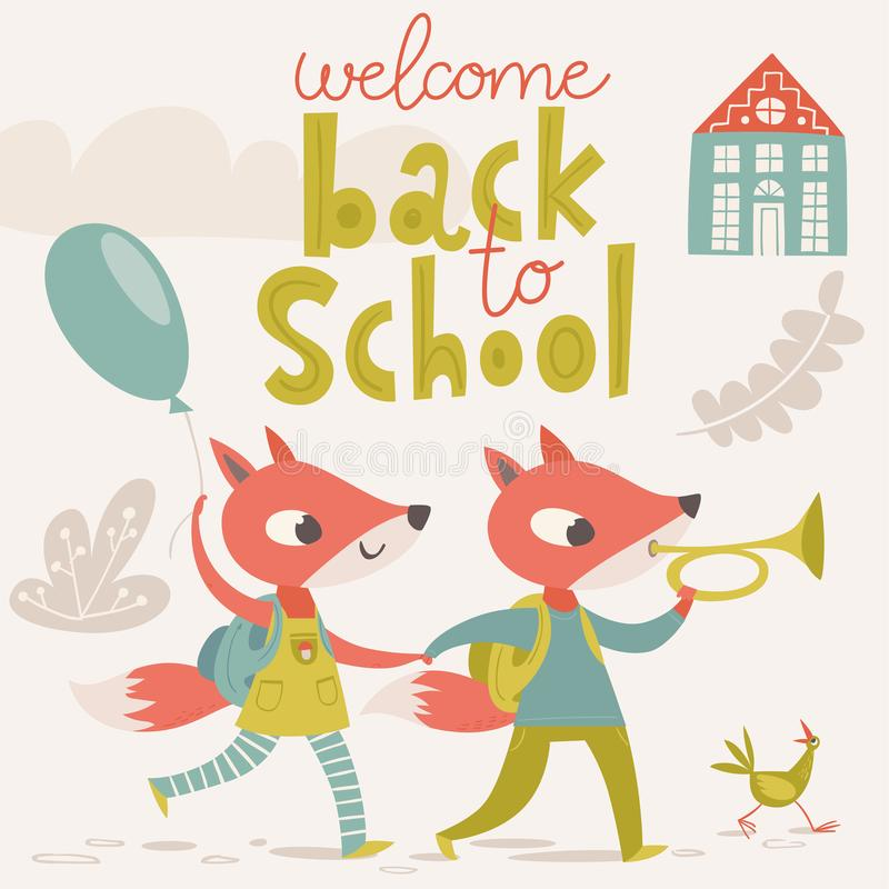 Benvenuto di nuovo al manifesto della scuola con gli animali del fumetto Gatto del bambino con un ombrello illustrazione di stock