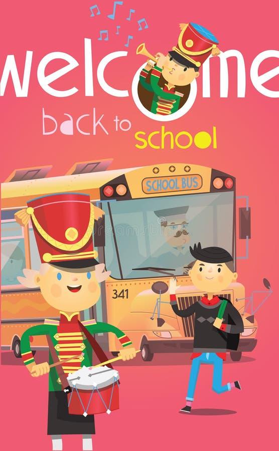 Benvenuto di nuovo al manifesto della scuola con lo scuolabus ed i bambini che si accolgono all'inizio dell'anno illustrazione vettoriale