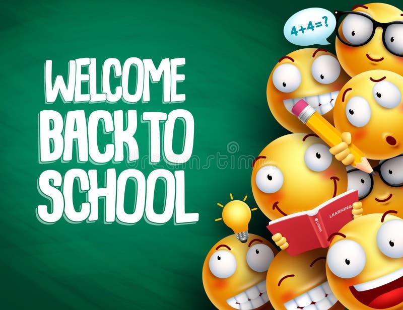 Benvenuto di nuovo al testo di scuola e smiley con le espressioni facciali illustrazione di stock