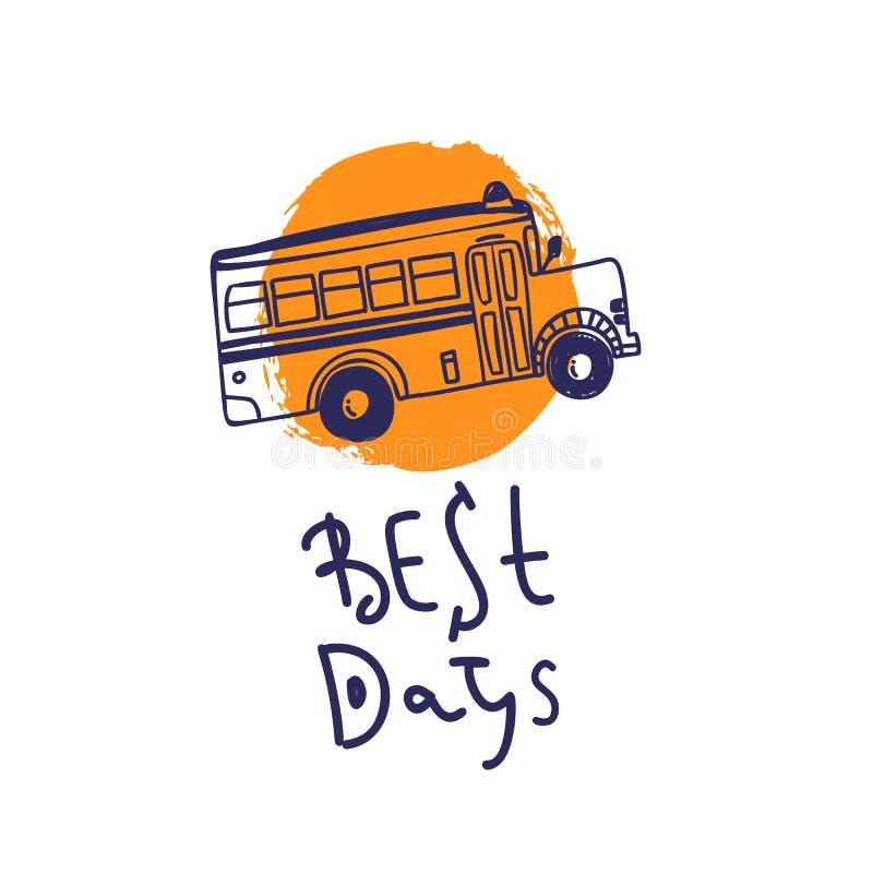 Benvenuto di nuovo alla scuola con l'illustrazione del bus Migliore logo di concetto di giorni illustrazione vettoriale