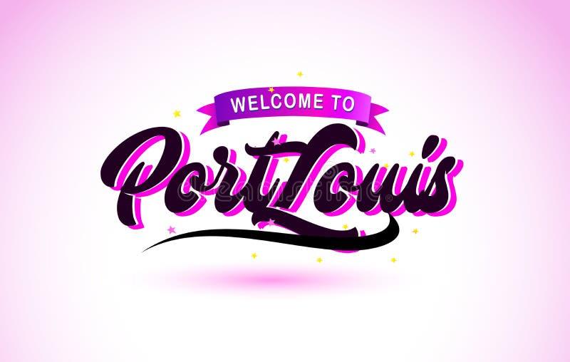 Benvenuto di Port Louis alla fonte scritta a mano del testo creativo con progettazione rosa porpora di colori illustrazione vettoriale