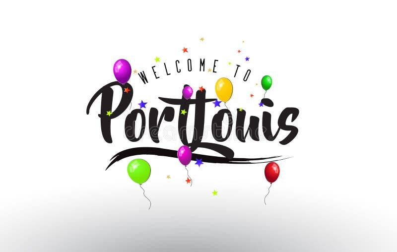 Benvenuto di Port Louis da mandare un sms a con i palloni variopinti e la progettazione delle stelle royalty illustrazione gratis