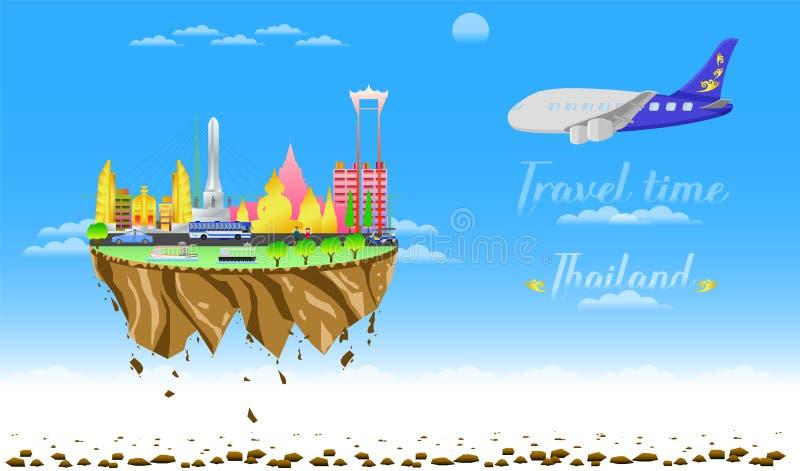 Benvenuto di tempo di viaggio all'illustrazione eps10 di vettore del galleggiante del paese della città della Tailandia royalty illustrazione gratis