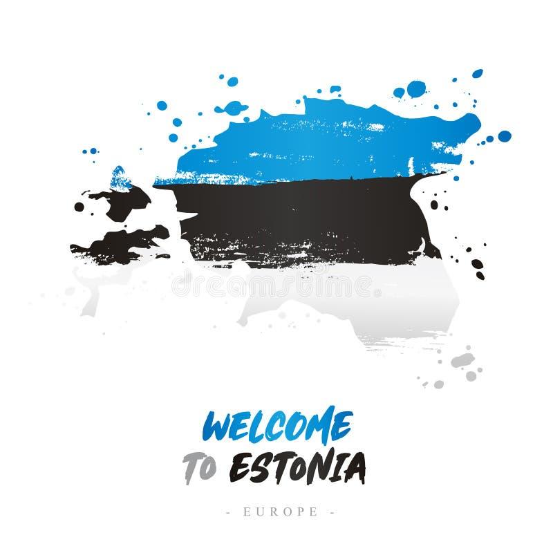 Benvenuto in Estonia Bandiera e mappa del paese illustrazione vettoriale