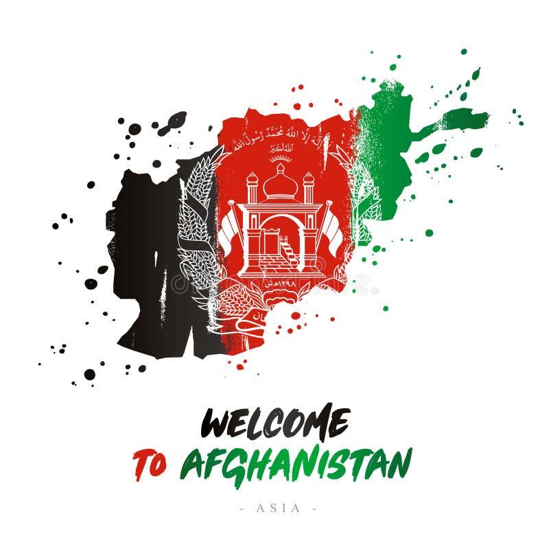 Benvenuto a fghanistan Bandiera e mappa del paese royalty illustrazione gratis