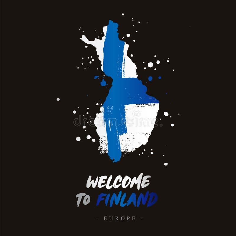Benvenuto in finlandia Bandiera e mappa del paese illustrazione di stock